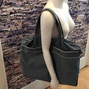 Lacoste blue zip top tote bag